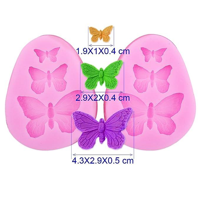 2x Encaje molde del silicona en forma pasta de azúcar herramienta Hornear adorna la flor rosa Mariposa: Amazon.es: Hogar