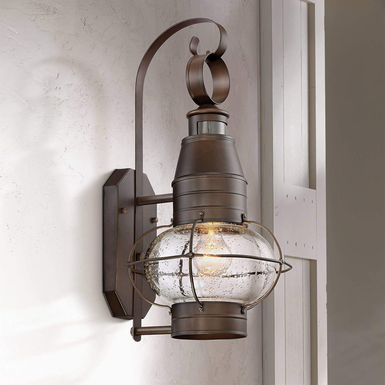 Galt nautical outdoor light fixture oil rubbed bronze lantern 19 3 4 clear seedy glass motion sensor for porch patio amazon com