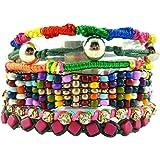 Bracelet Brésilien Ethnique Multi Rangs Perles Métal Couleurs Fashion