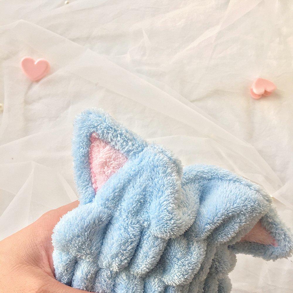 Toalla de baño para el cabello, de microfibra superabsorbente de secado rápido, con diseño de orejas de gato, color azul, de Prochive.