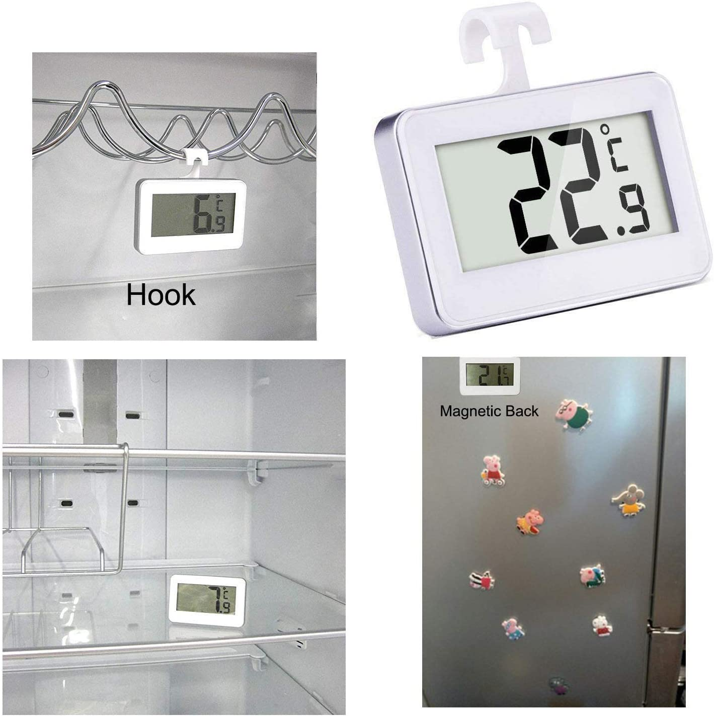 Diameter with Hanging Hook Freezer Refrigerator Cooler Thermometer 2.0 in