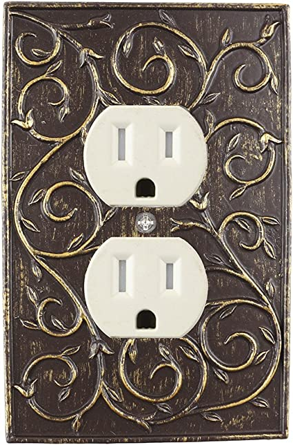 Meriville French Scroll Electrical Outlet Wall Plate Cover Hand Painted Single Duplex Receptacle Outlet Cover Bronze