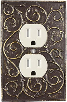 Meriville French Scroll Electrical Outlet Wall Plate Cover Hand Painted Single Duplex receptacle outlet cover Pewter