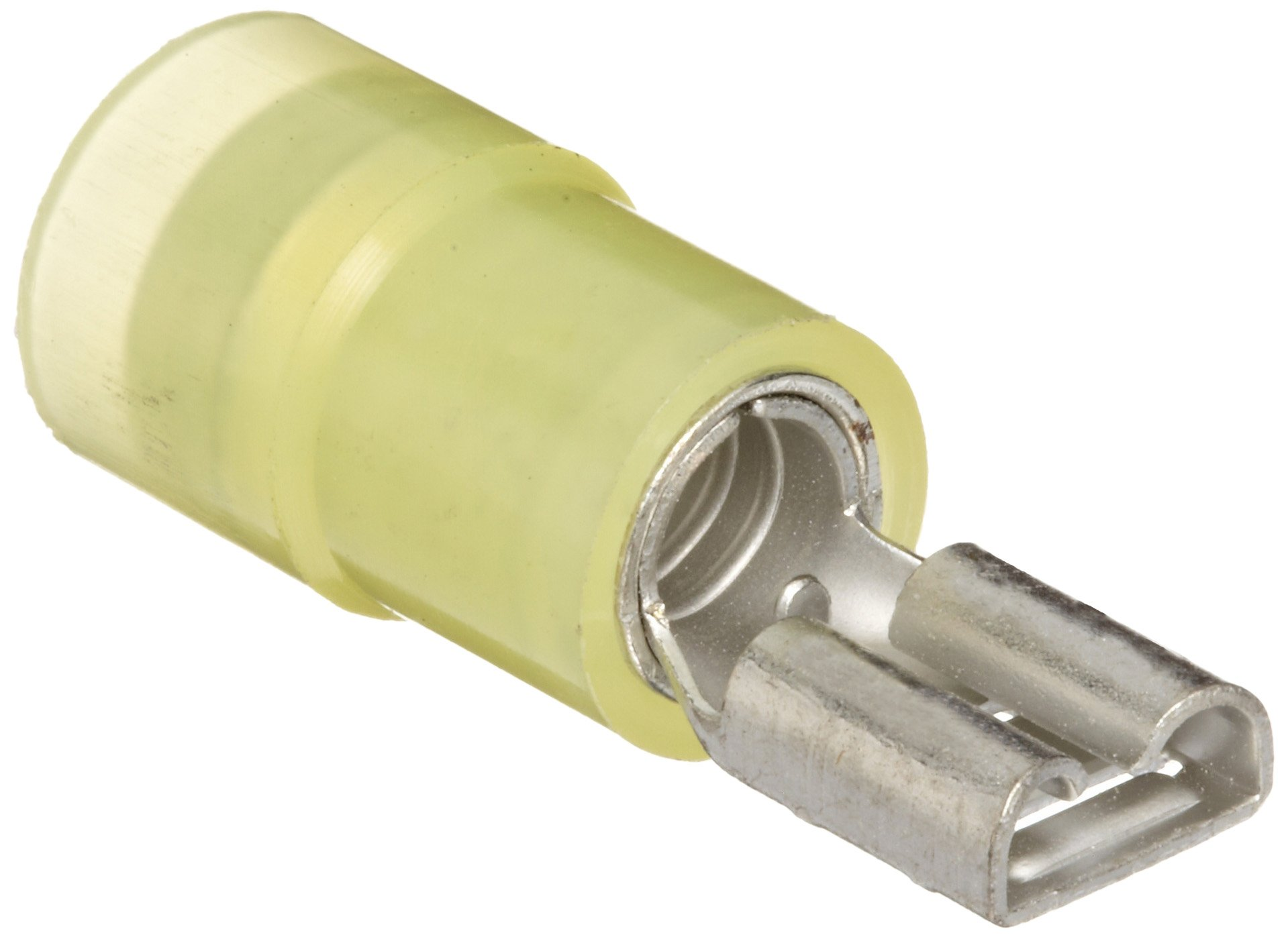 Morris Products 11932 Female Disconnect, Double Crimp, Nylon Insulated, Yellow, 12-10 Wire Size, 0.032''X0.187'' NEMA Tab  (Pack of 100)