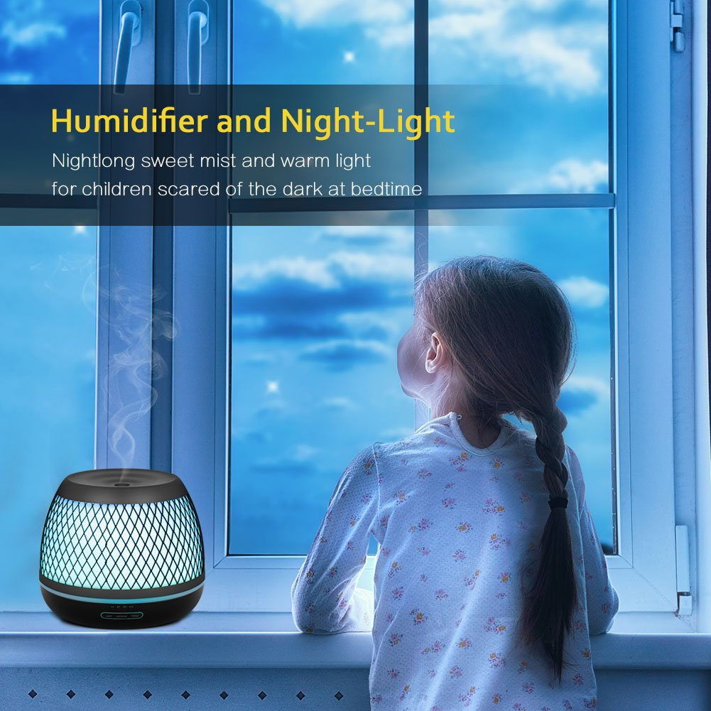 InnoGear 2018 Premium 500ml Aromatherapy Essential Oil Diffuser with Iron Cover Ultrasonic Diffuser Classic Stlye Cool Mist Humidifier with 7 Colorful Night light for Home Bedroom Baby Room Yoga Spa by InnoGear (Image #6)