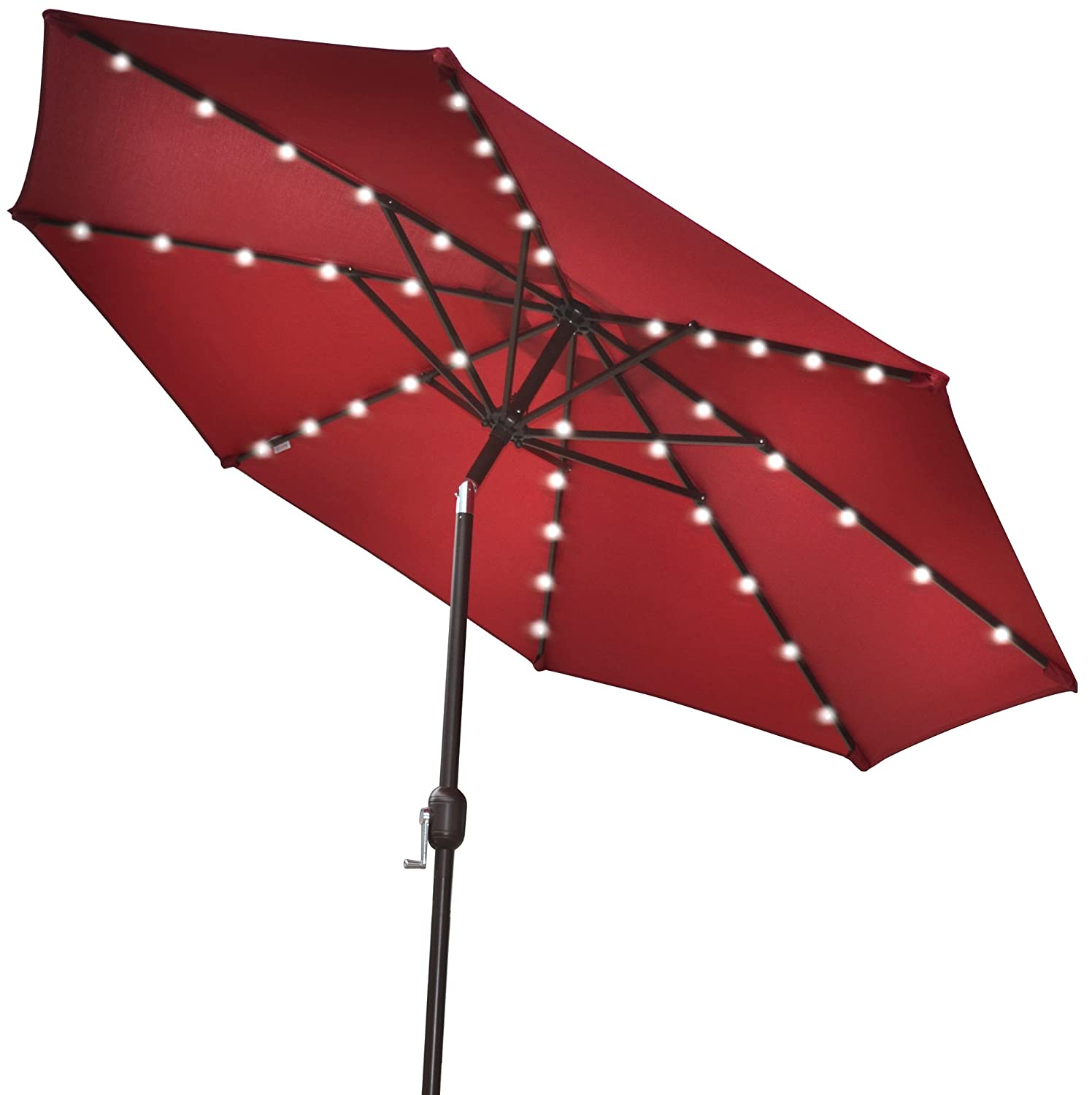 Amazon.com : STRONG CAMEL 9u0027NEW SOLAR 40 LED LIGHTS PATIO UMBRELLA GARDEN  OUTDOOR SUNSHADE MARKET BURGUNDY : Umbrella With Solar Lights : Garden U0026  Outdoor