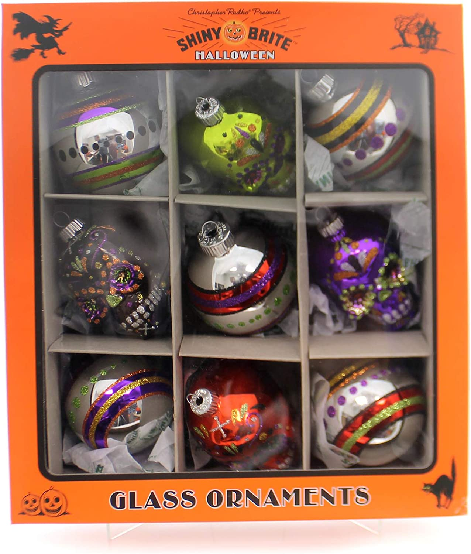 Christopher Radko Rounds and Skulls Halloween Shiny Brite Ornament 4027450