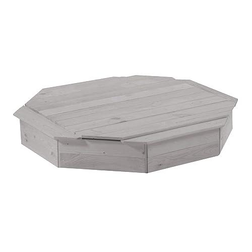 roba Bac à sable, octogonal avec couvercle, bac à sable en bois massif résistant aux agents atmosphériques gris lasuré, couvercle en bois amovible inclus.