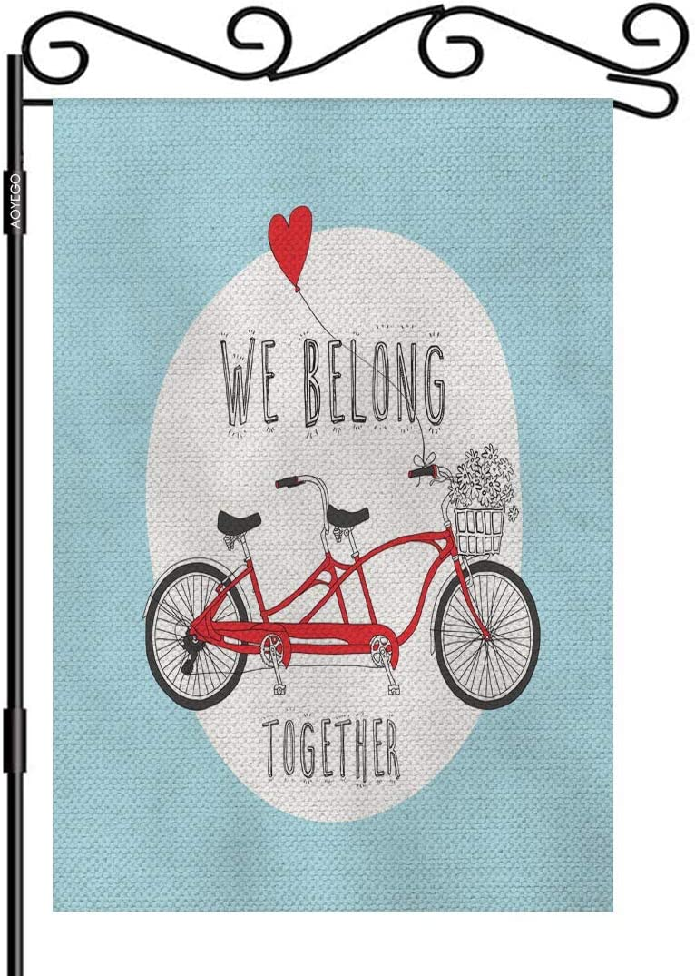 AOYEGO Valentine's Day Theme Garden Flag Vertical Double Sided 12.5 x 18 Inch Red Tandem Bike with A Balloon and We Belong Together On Blue Burlap Yard Outdoor Decor