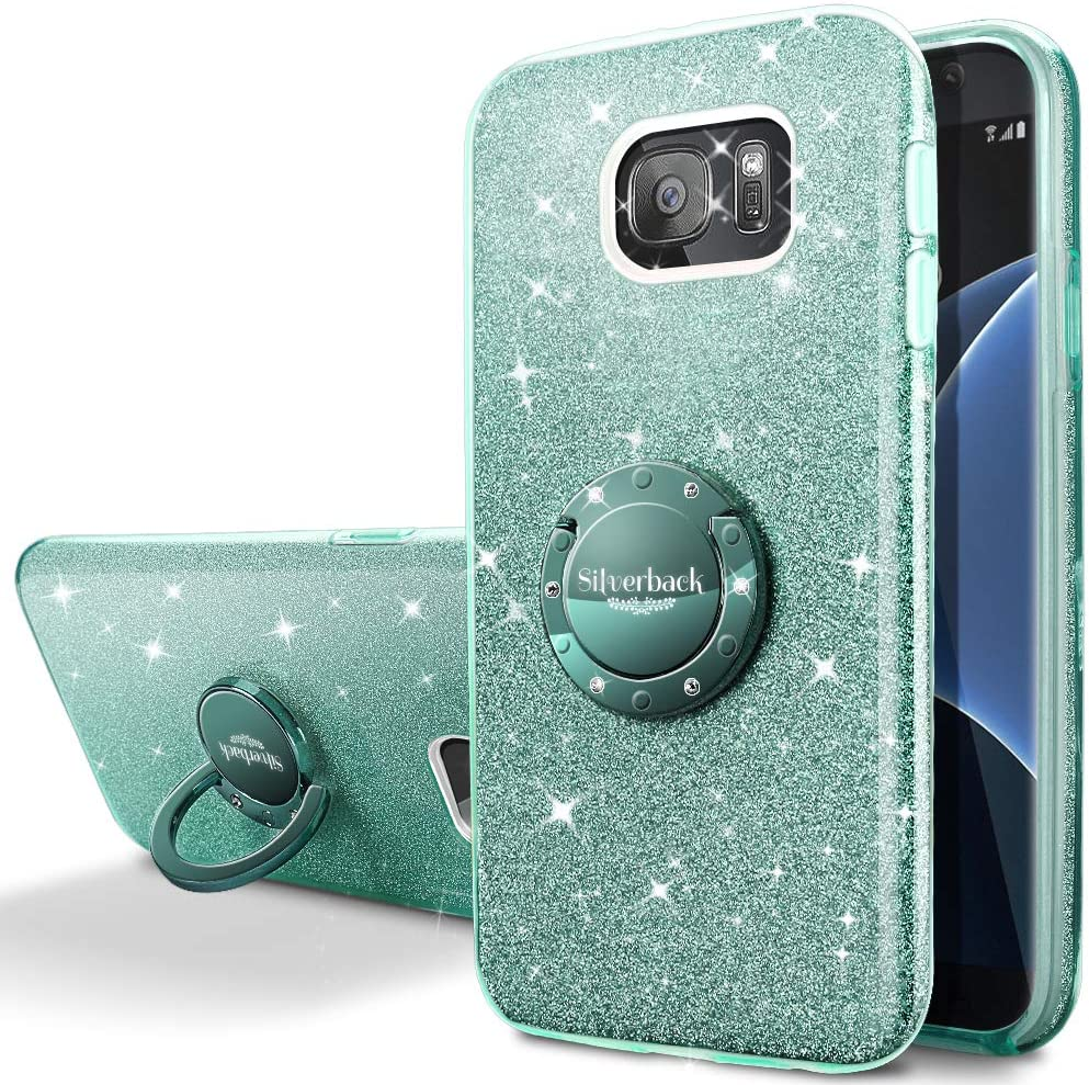 Silverback Galaxy S6 Case, Girls Bling Glitter Sparkle Cute Phone Case with 360 Rotating Ring Stand, Soft TPU Outer Cover + Hard PC Inner Shell Skin for Samsung Galaxy S6 -Green