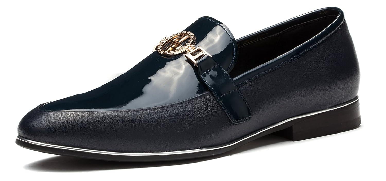 Suave piel del OPP Hombres Loafer Flat Formal Zapatos metal Bit detalle 45EU|Azul