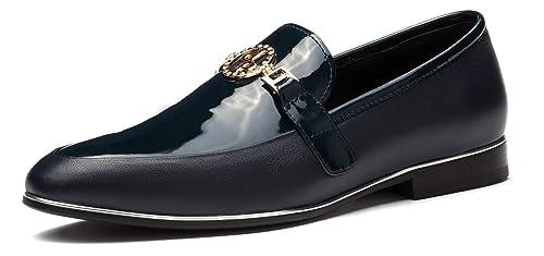 OPP Zapatos de Cordones de Piel Para Hombre, Color Azul, Talla 40 EU