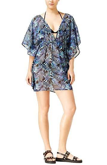 e3f1312f6d6e4 Miken Junior Women's Tropical Print Caftan Swimsuit Cover Up Dress at  Amazon Women's Clothing store: