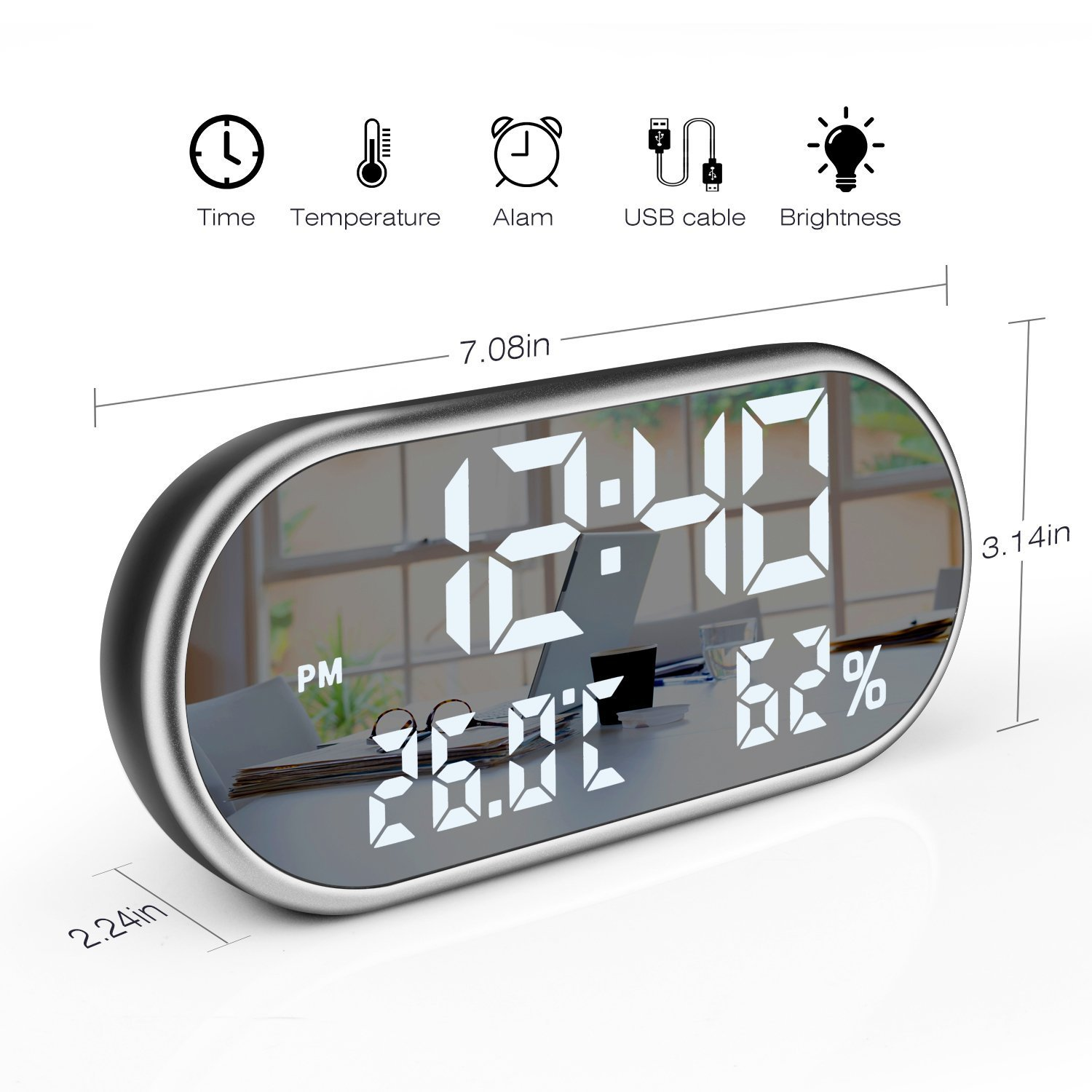 WMGS Digital LED Alarm Clock Phone Charger with Dual USB Port and Temperature Humidity Dimmer Snooze Clock for Home & Office Decor