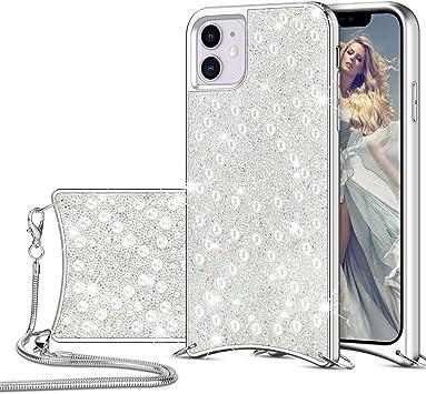 HoneyAKE Coque pour iPhone 11 Paillettes Strass Perle Paillettes ...