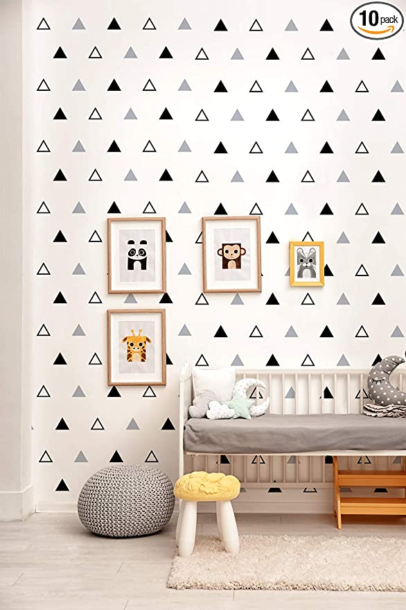 Geometric Wallpaper Modern Peel And Stick Wallpaper Grey Black Triangle Stripe Vinyl 17 71in X 118in Self Adhesive Contact Paper Removable Decorative Covering Cabinet Kids Room Home Wall Amazon Com