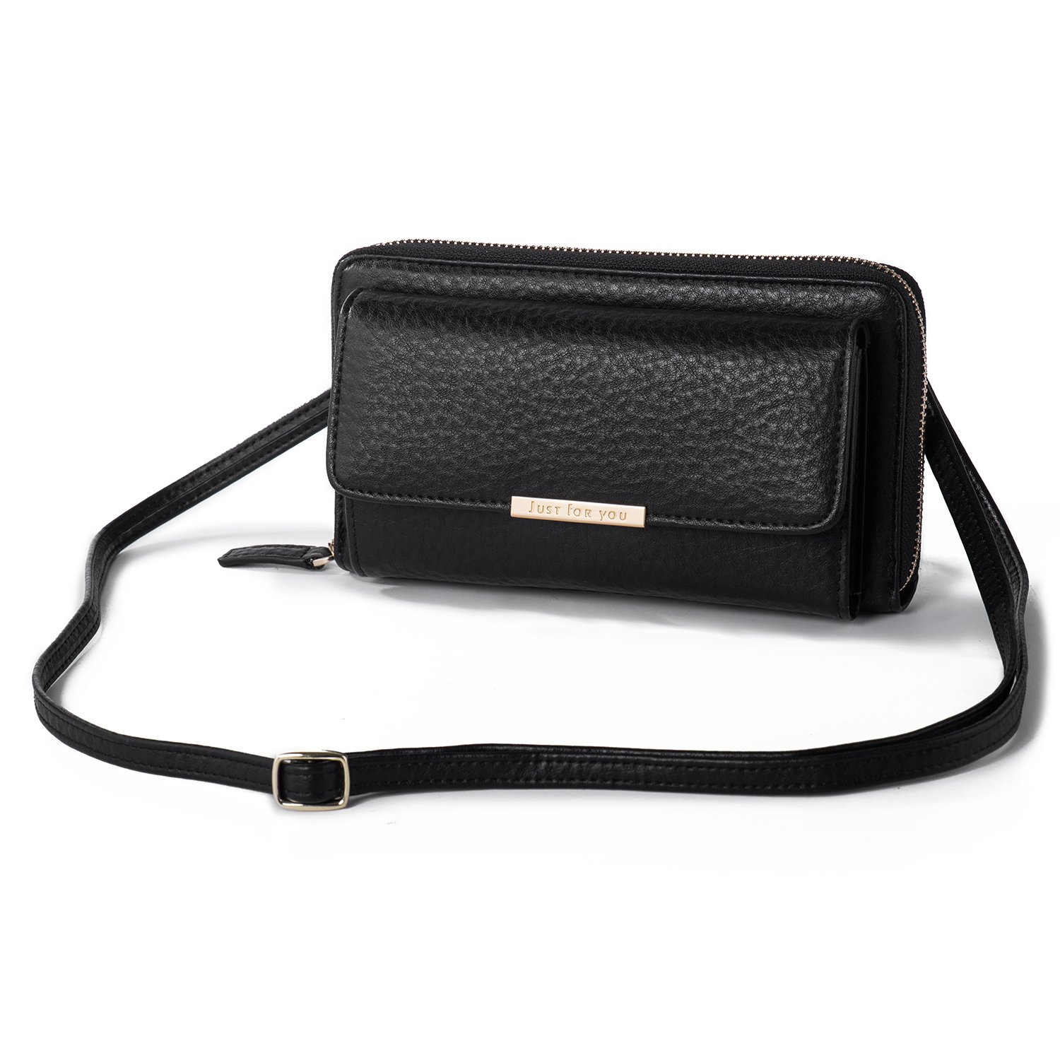 4bbe1d42dba6 Amazon.com  Crossbody Wallet Cellphone Purse for Women Clutch Handbag PU  Leather Cross Body Bag with Flap Multi Compartment for Cards Cash  Smartphone Black ...