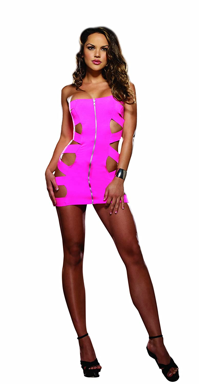 DreamGirl Women's Zipped and Bound Mini Dress Neon Pink One Size Dreamgirl International 8044