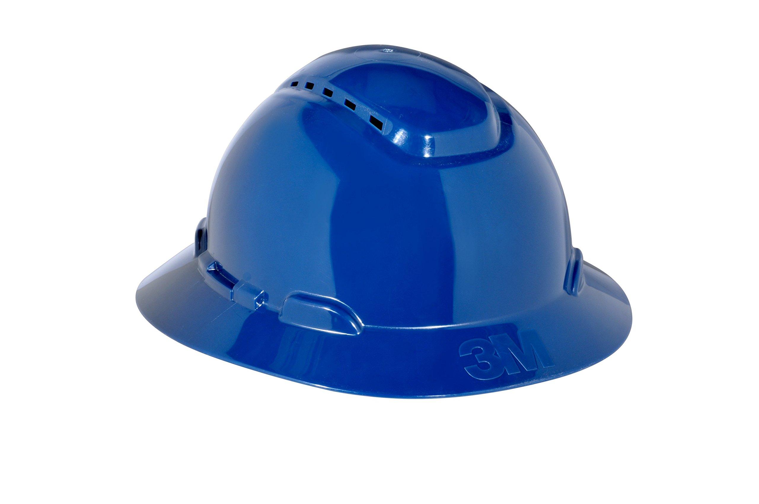 3M Full Brim Hard Hat H-810V, 4-Point Ratchet Suspension, Vented, Navy Blue