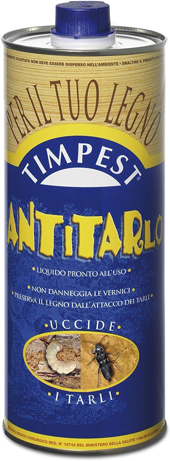 TIMPEST ANTITARLO LT. 1 – Base disolvente activa contra polillas, larvas, termitas y parásitos de la madera – Líquido listo para usar.