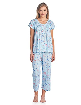 771e1a48aad Casual Nights Women s Short Sleeve Capri Pajama Set - Blue - Medium