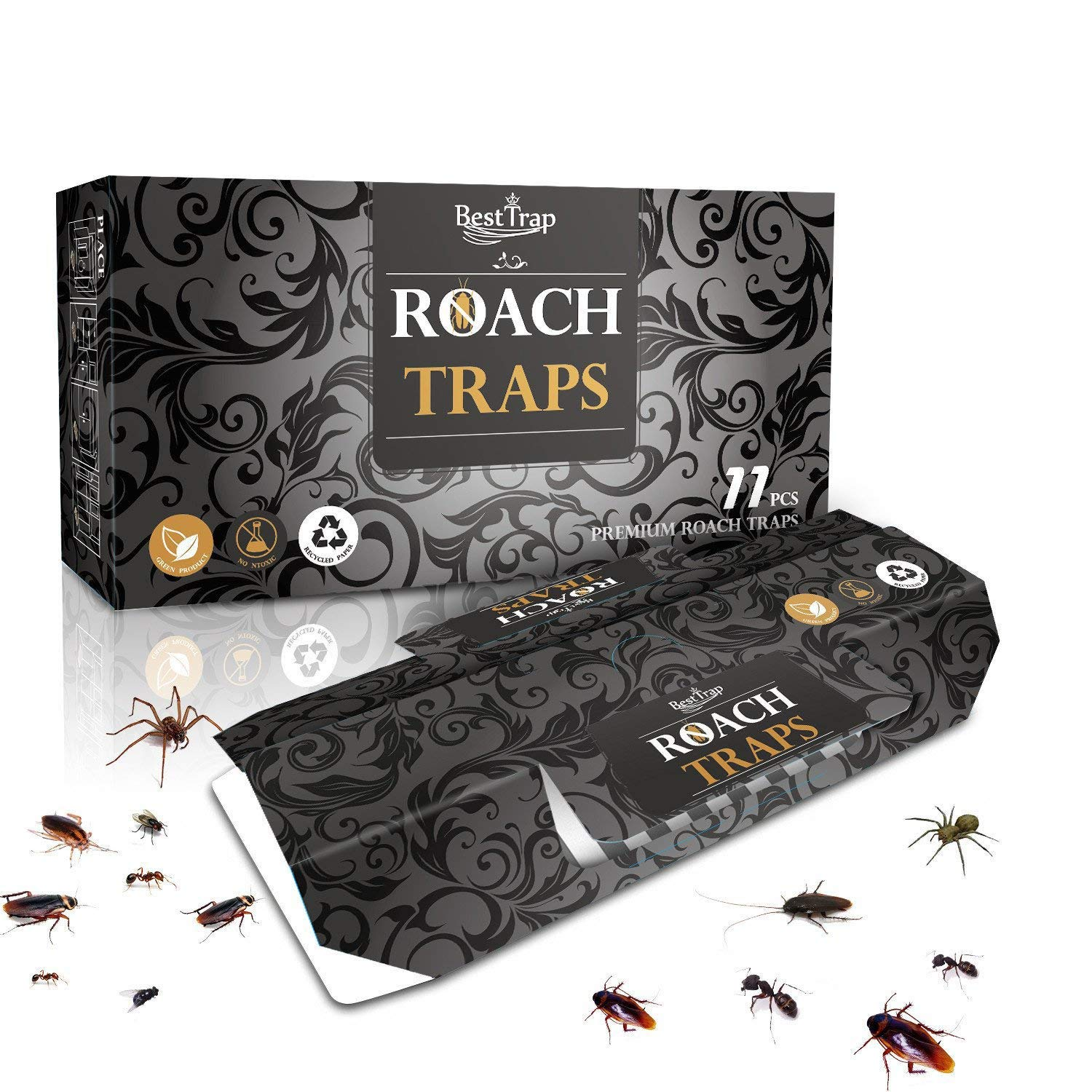 BestTrap 11 Pack Cockroach Traps with Bait Included,Premium Glue Trap,Eco-Friendly | Non-Toxic, Premium Spiders Ants Cockroach Killer