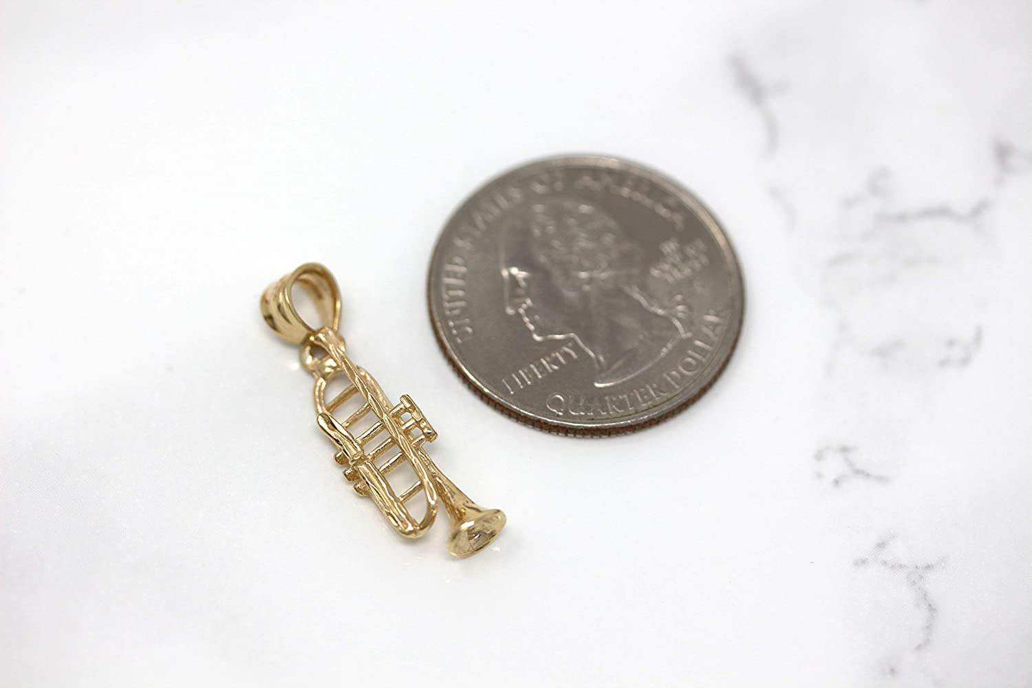 CaliRoseJewelry 14k Gold Trumpet Horn Charm Pendant Necklace