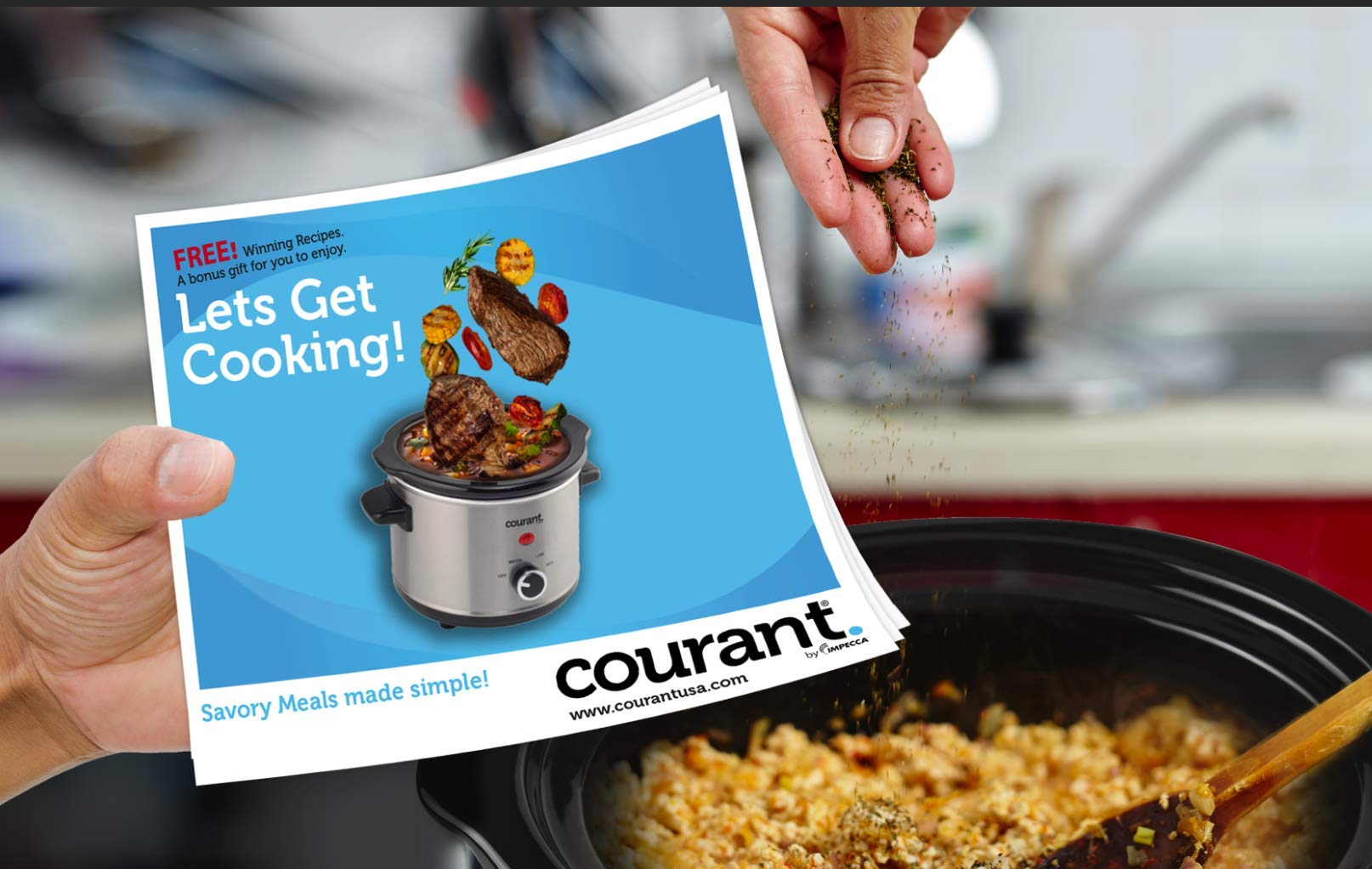 Courant Mini Slow Cooker Crock, with Easy Options 1.5 Quart Dishwasher Safe Pot, Stainless Steel