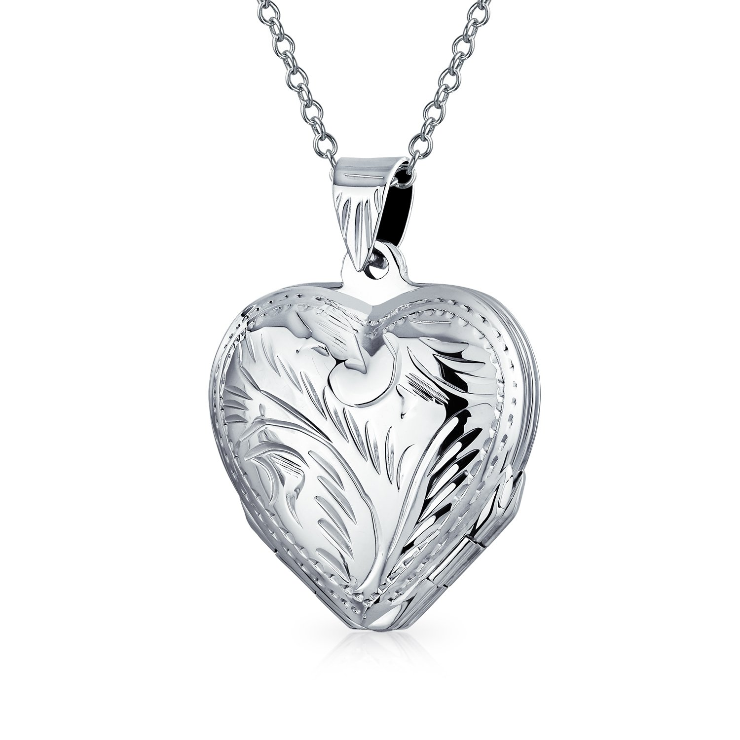 Etched Four Way Heart Shaped Locket Pendant Sterling Silver 18 Inches