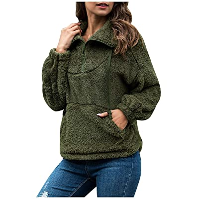Sttech1 Women's Coat Casual Lapel Fleece Fuzzy Faux Shearling Jackets Half Zipper Warm Winter Pullover Outwears: Clothing