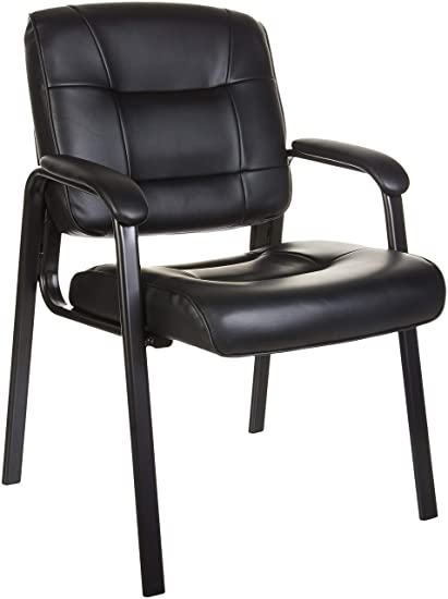 Black Leather Accent Chairs For Bariatric.Amazonbasics Classic Leather Office Desk Guest Chair With Metal Frame Black
