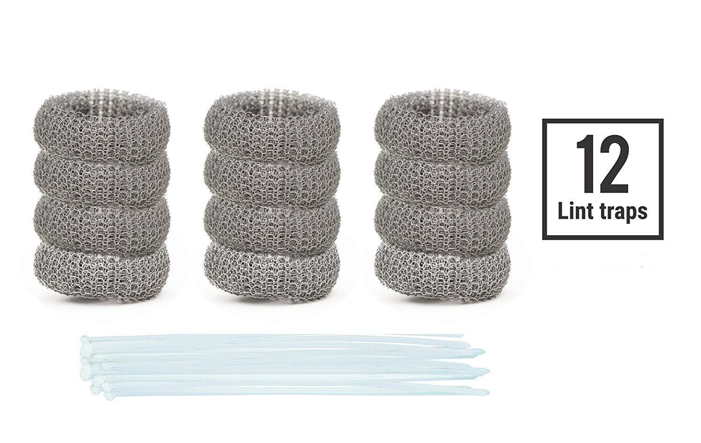 Paquete de 12 trampas de pelusa para lavadora de acero inoxidable ...