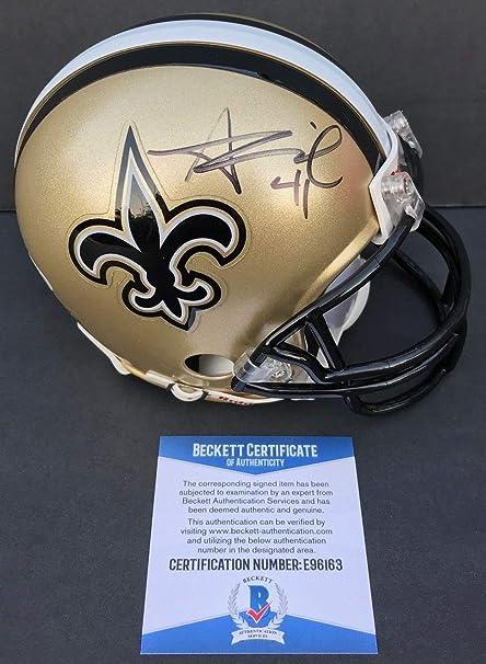 43524d570f0 Image Unavailable. Image not available for. Color  Who Da Alvin Kamara New  Orleans Saints Autographed Signed Mini Helmet Beckett Authentic Bas