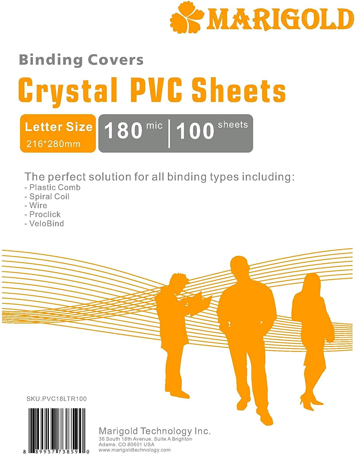 Crystal Clear Binding Covers Presentation Covers - MARIGOLD 100 Pack, 7 mil Letter Size Plastic Covers for Paper, Clear Report Covers, Compatible with GBC, Fellowes and Trubind Binding Machines