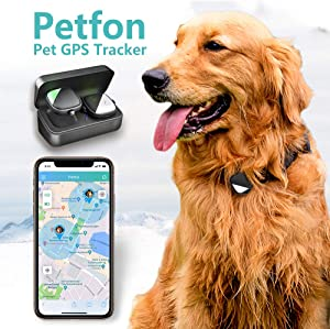 PetFon Pet GPS Tracker, No Monthly Fee, Real-Time Tracking Collar Device, APP Control for Dogs and Pets Activity Monitor(Only for Dog)