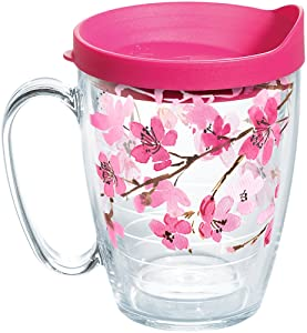 Tervis 1260648 Japanese Cherry Blossom Coffee Mug With Lid 16 oz Clear