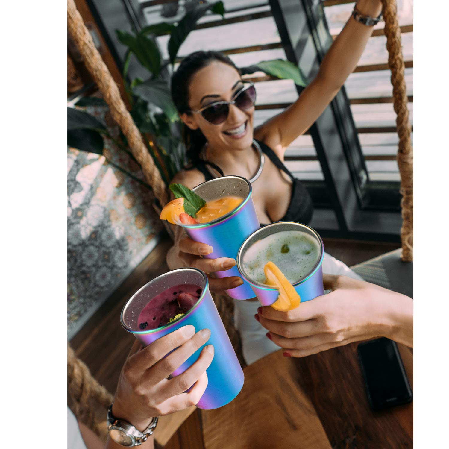 Rainbow Party Cups, Kereda Stainless Steel Cups 16oz 5-Pack Premium Drinking Glasses Unbreakable Colorful Tumblers BPA Free Eco Friendly by KEREDA (Image #6)