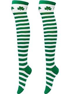 fdd7b7be6e0 Elcoho St Patrick s Day Shamrocks Socks Over Knee Thigh Striped Stockings  for Saint Patrick Party Costume