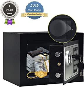 JUGREAT Safe Box with Induction Light,Electronic Digital Securit Safe Steel Construction Hidden with Lock,Wall or Cabinet Anchoring Design for Home Office Hotel BusinessGun Passport Cash Money