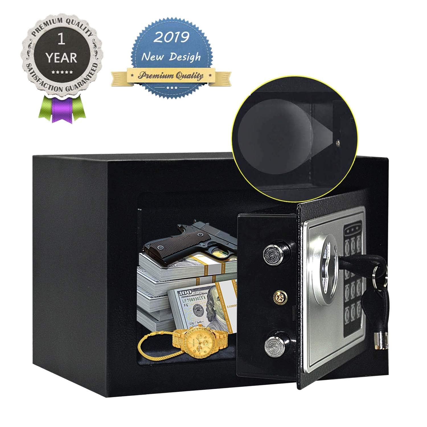 JUGREAT Safe Box with Induction Light,Electronic Digital Securit Safe Steel Construction Hidden with Lock,Wall or Cabinet Anchoring Design for Home Office Hotel BusinessGun Passport Cash Money by JUGREAT