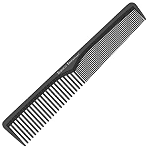 Styling Comb | Professional 7 Inch Black Carbon Fiber Anti Static Chemical And Heat Resistant Comb For All Hair Types | Fine and Wide Tooth Comb For Men and Women | By Bardeau Essentials (Single)