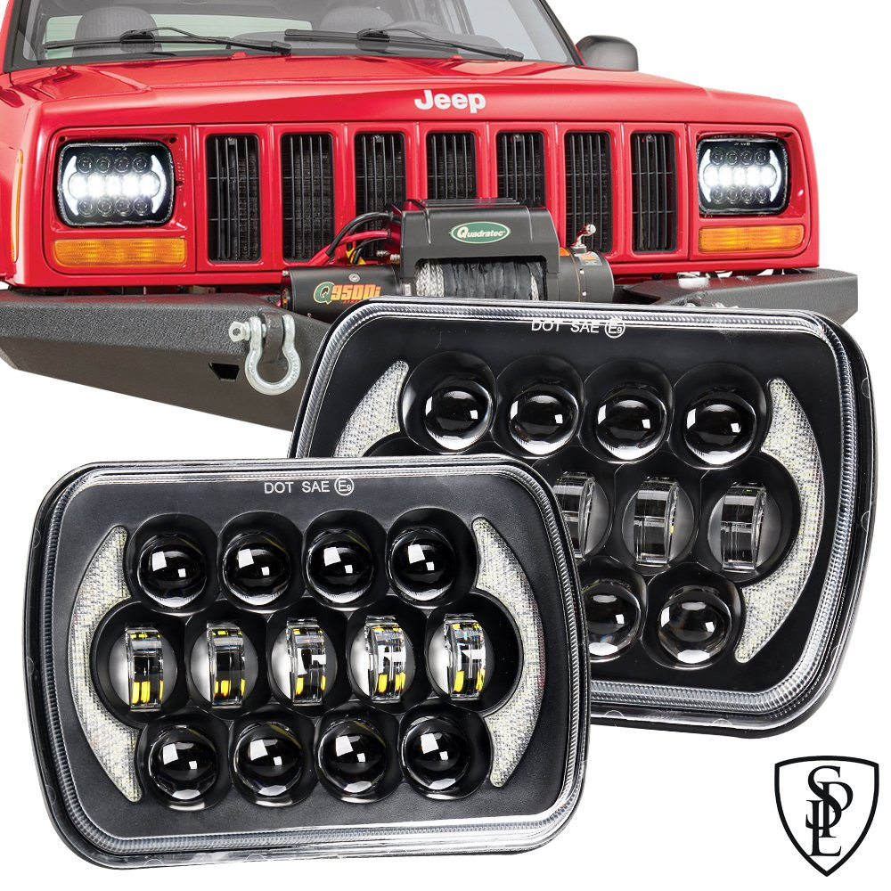 105W Brightest 5''x7''/7''x'6'' Projector Osram Led Headlights with DRL for Jeep Wrangler YJ Cherokee XJ H6054 H5054 H6054LL 69822 6052 6053 (Black Pair) SPL LIGHT