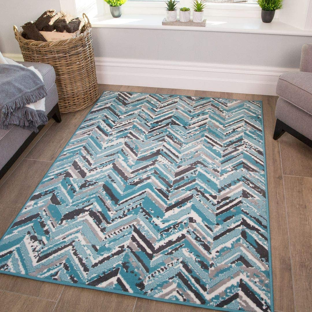 Amazon Com Modern Gray And Blue Geometric Striped Rug Teal Cream Silver Living Room Lounge Kitchen Bedroom Furniture Decor