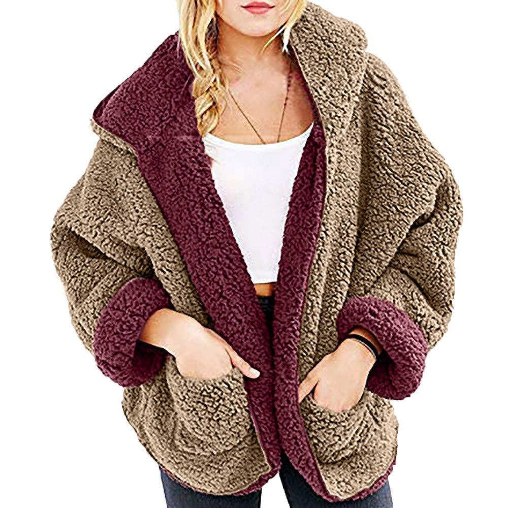 Yvelands Casual Fleece Fuzzy Faux Shearling de de de Las Mujeres Abrigo de Invierno de Gran tamaño con Capucha Top Blusa 9a36e0