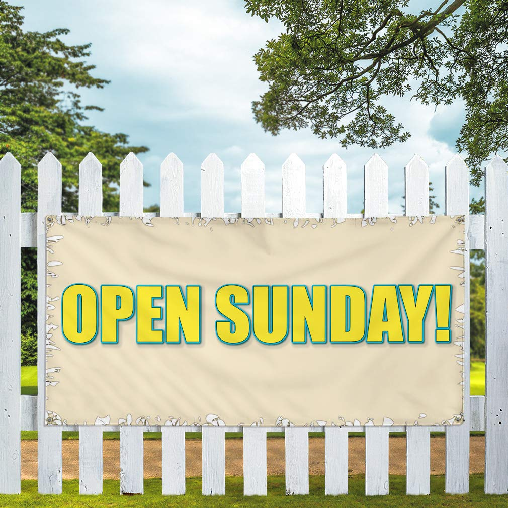 Set of 3 24inx60in Vinyl Banner Sign Open Sunday 4 Grommets Multiple Sizes Available #5 Business Open Sunday Marketing Advertising White//Grey