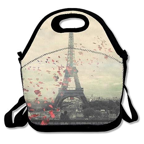 3c6a4f6f75a1 Amazon.com: FEAIYEA Neoprene Lunch Tote - Paris Wallpaper Waterproof ...