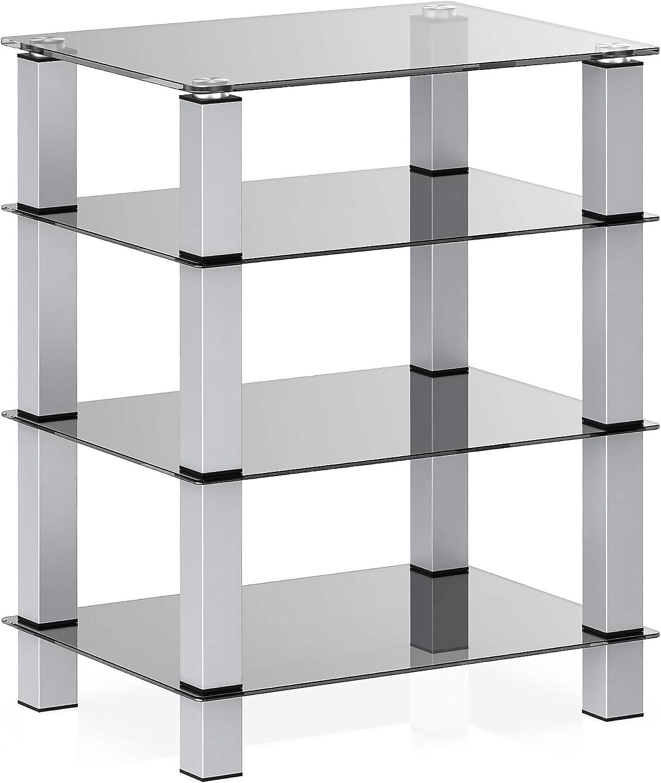 FITUEYES AV Component Media Stand Audio Rack 4-Tier Entertainment Shelves TV Stand for Entertainment Center Stereo Cabinet - Luxury Gray