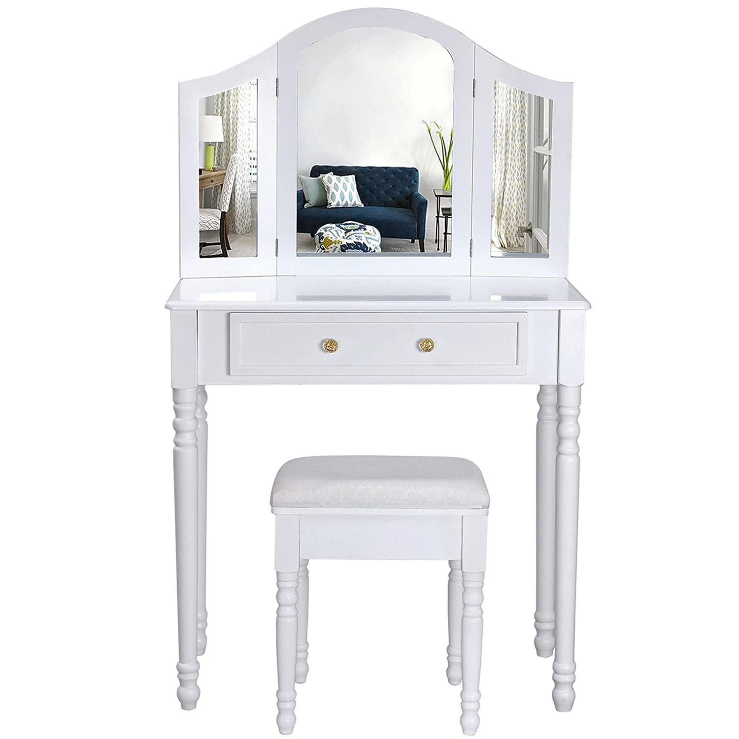beautiful songmics coiffeuse meuble blanctable de maquillage commode avec miroirs rabattables et. Black Bedroom Furniture Sets. Home Design Ideas