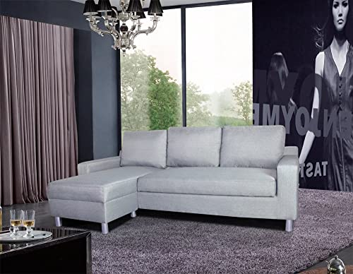 US Pride Furniture Kachy Fabric Convertible Sleeper Sectional Sofa Bed Facing-Left Chaise, Gray