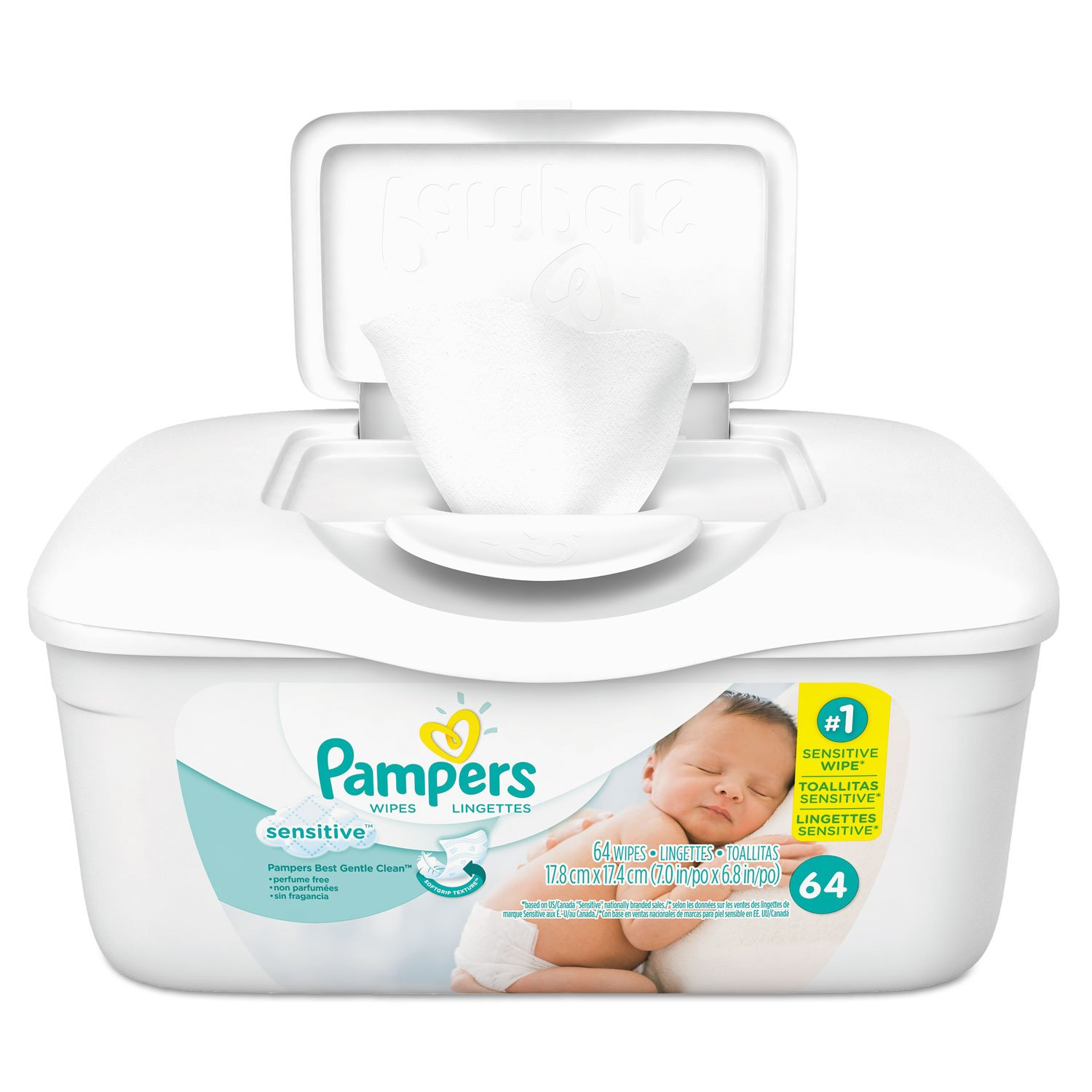 Amazon.com: Pampers 10037000195051 Sensitive Baby Wipes, White, Cotton, Unscented, 64/tub, 8 Tub/carton: Industrial & Scientific